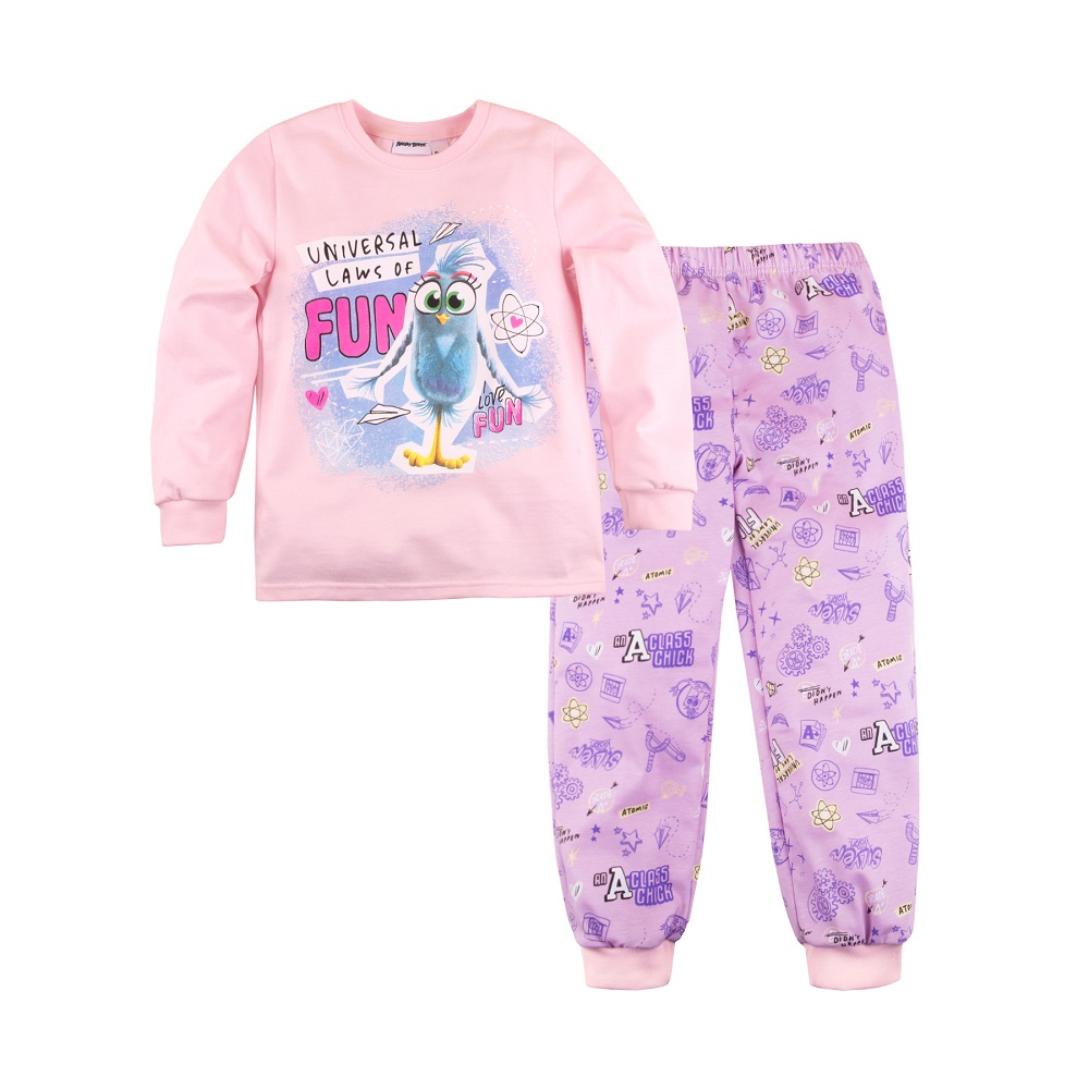 """Пижама Bossa Nova """"Angry Birds"""" для девочки: джемпер и брюки, Журавлик, Россия, Розовый, 122  - купить со скидкой"""