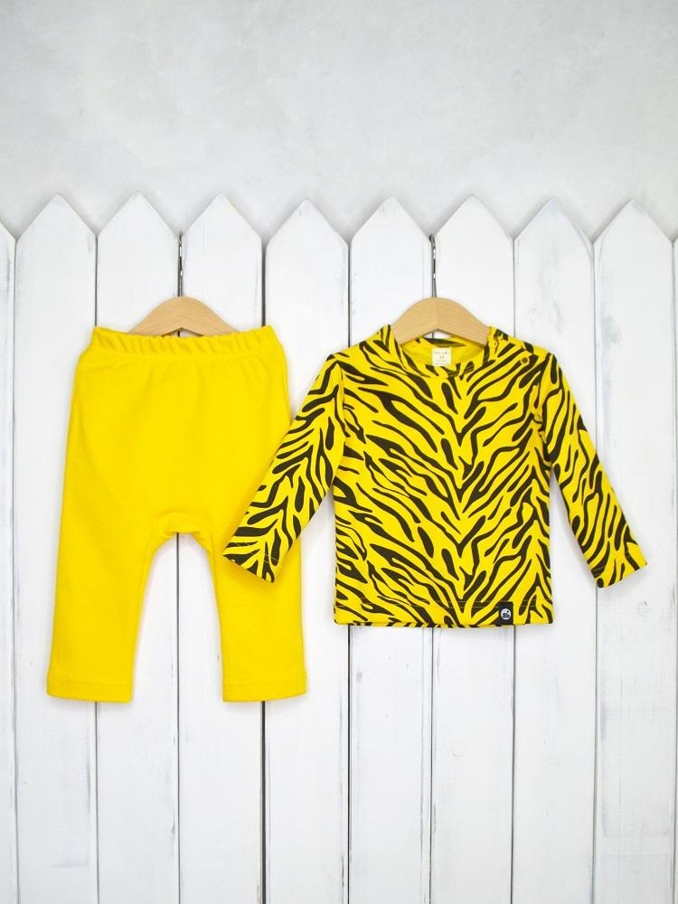 Купить Комплект детский Baby Boom Тигр : лонгслив и штанишки, Наша Мама, Россия, Желтый, 68