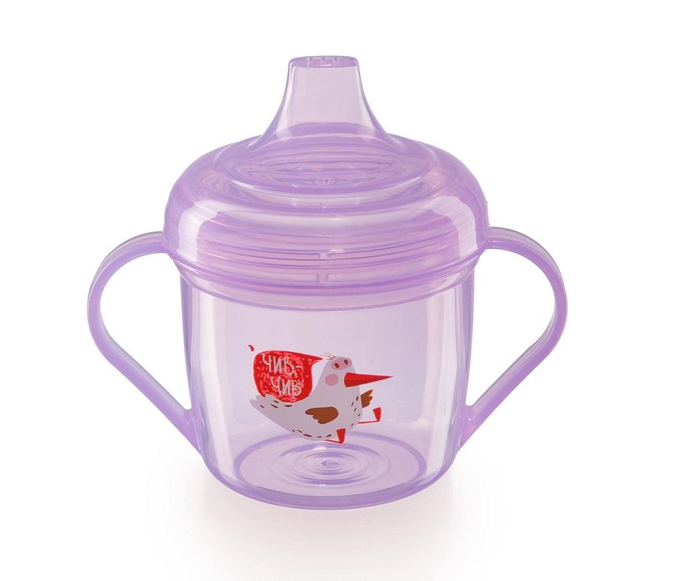Купить Поильник Happy Baby Training cup с ручками, фиолетовый, 170мл, Россия
