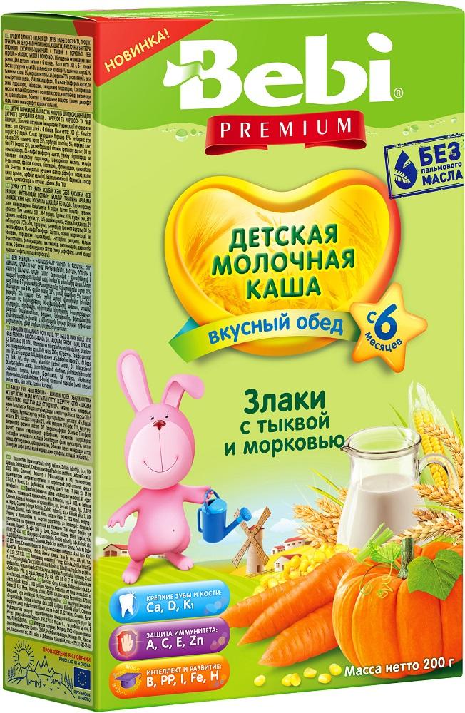 Купить Детская каша Bebi Premium со злаками, тыквой и морковью, 200гр, Словения