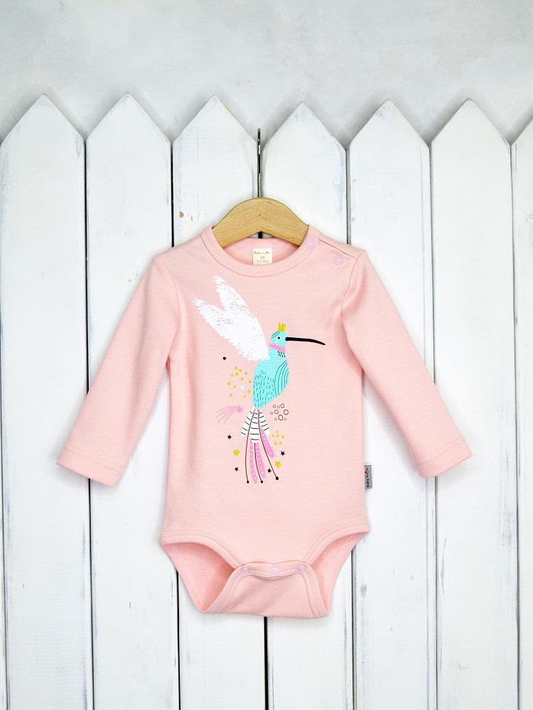 Купить Боди Baby Boom Колибри с длинным рукавом, розовое, Наша Мама, Россия, Розовый, 68