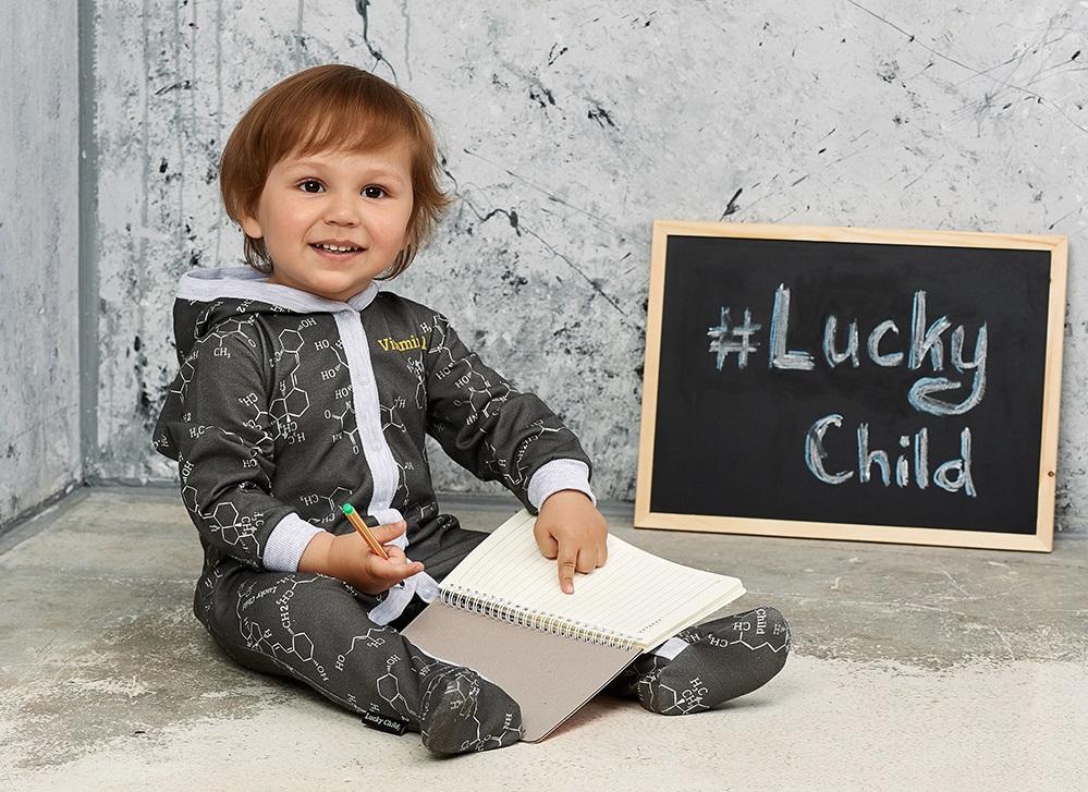 Купить Комбинезон Lucky Child Витамин , чёрный футер, Наша Мама, Россия, Черный, 56
