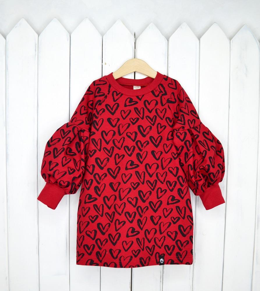 """Платье Baby Boom """"Сердца"""" с рукавами-фонариками Hasbro красного цвета"""
