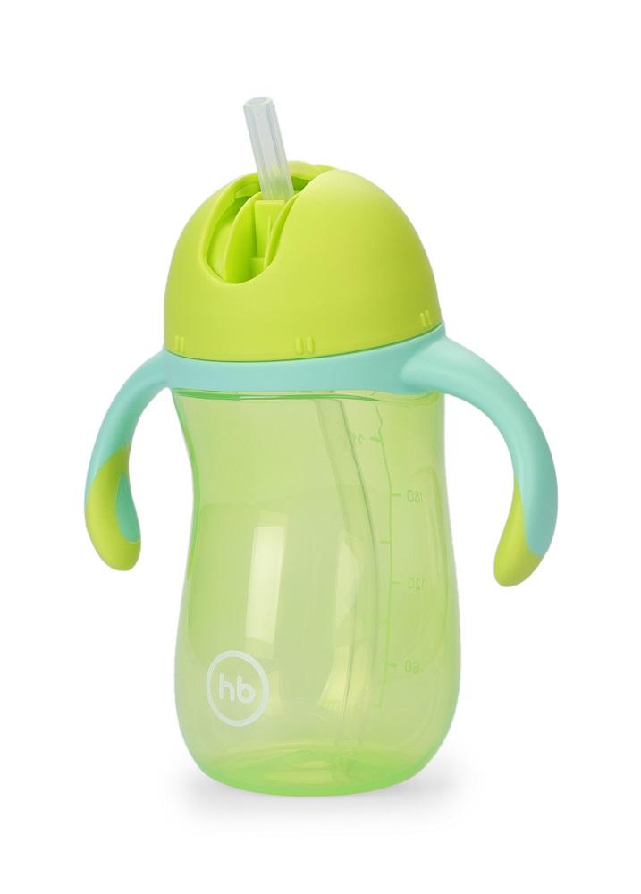 Купить Поильник Happy Baby с трубочкой и ручками, зеленый, 260мл, Россия