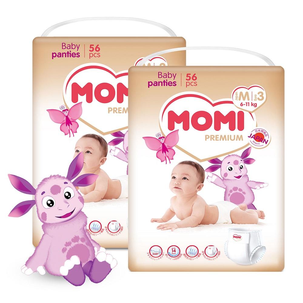 Купить Подгузники-трусики Momi Premium Megabox M (6-11кг), 112шт., Япония