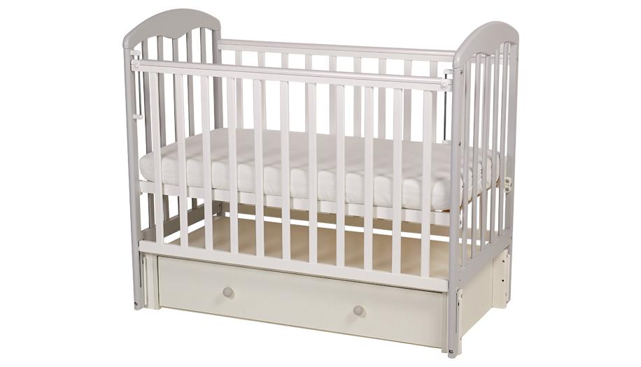 Кроватка детская Polini kids Simple 328, бело-серая