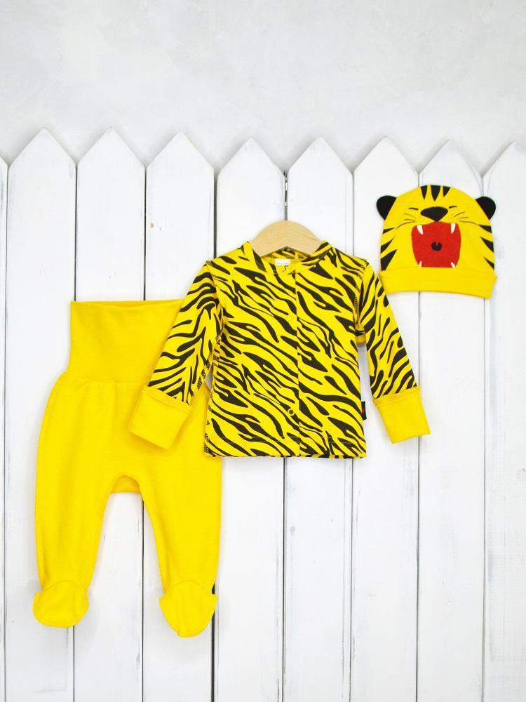 Купить Комплект Baby Boom Тигр для новорожденного, 3 предмета, Наша Мама, Россия, Желтый, 62