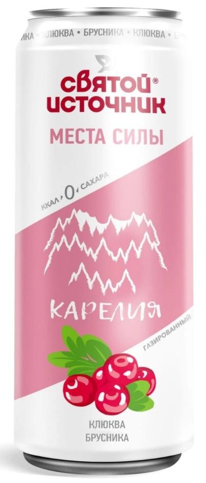 Купить Вода минеральная Святой Источник Карелия Клюква-брусника , газированная, ПЭТ, 0, 33л, Россия