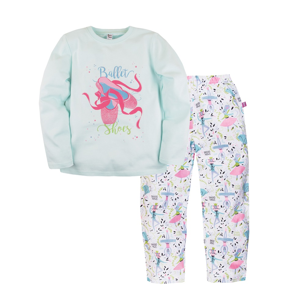 Купить Пижама Bossa Nova Маэстро для девочки: джемпер и брюки, Журавлик, Россия, Голубой, 122