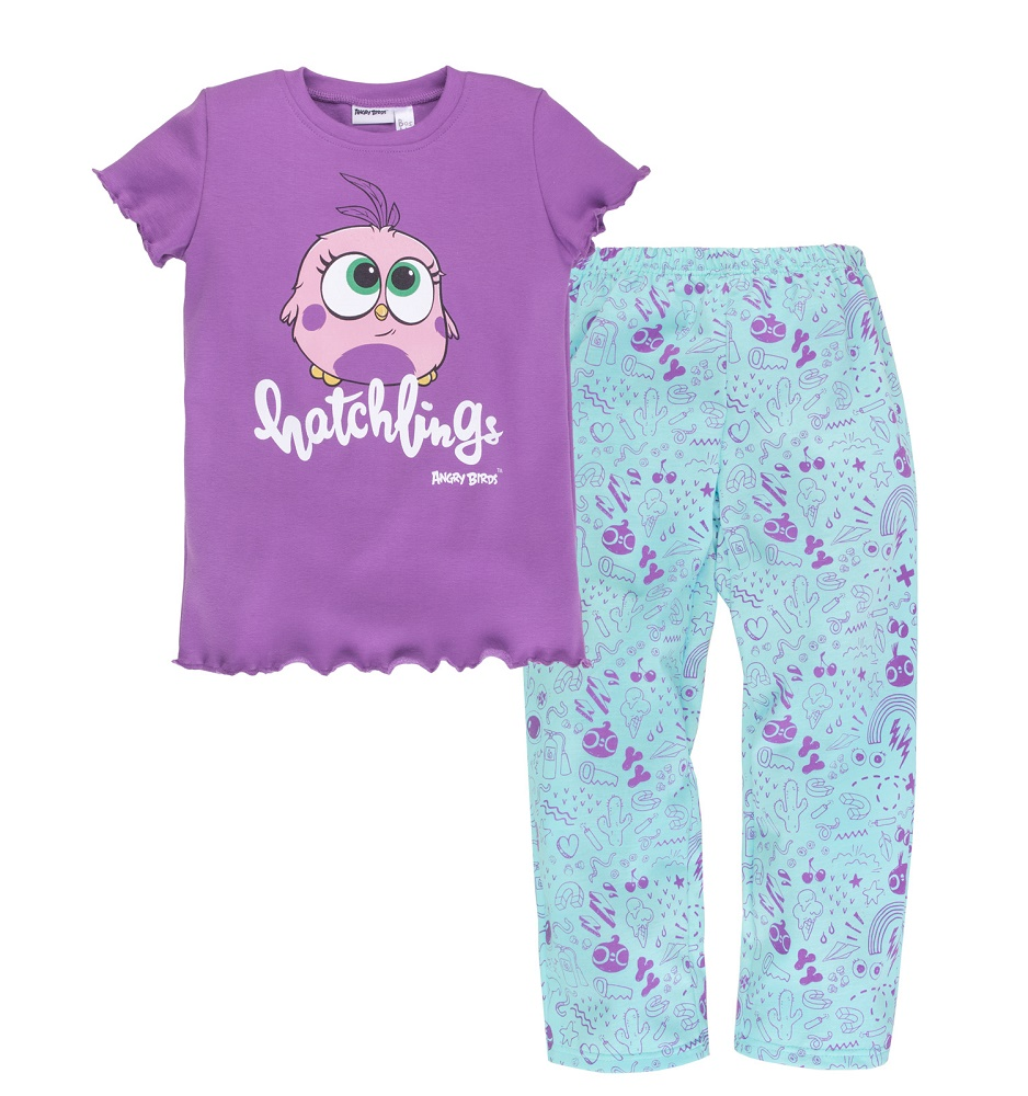 Купить Пижама Bossa Nova Angry Birds для девочки: футболка и брюки, Витоша, Россия, Мульти, 98