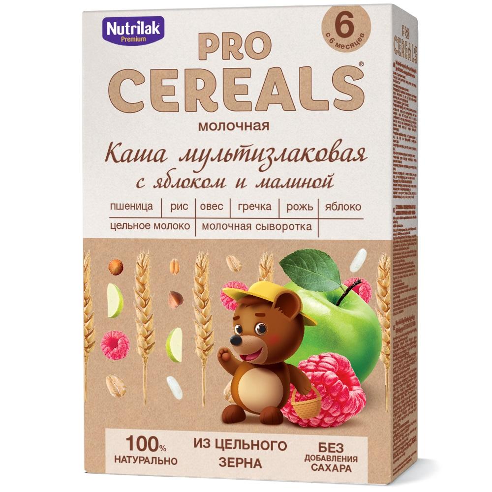Купить Каша мультизлаковая с яблоком и малиной Nutrilak Premium Pro Cereals цельнозерновая молочная, 200гр, Россия
