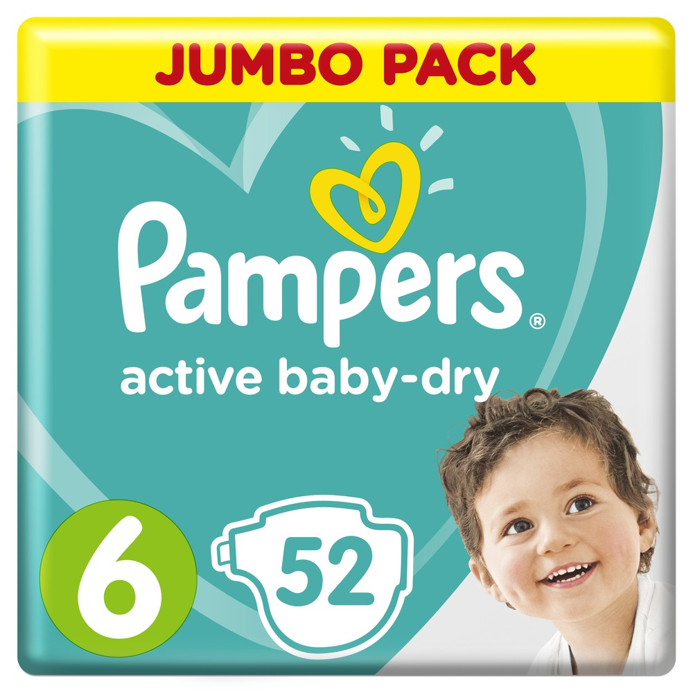 Подгузники Pampers Active Baby-Dry Extra Large 6 (13-18 кг), 52шт.
