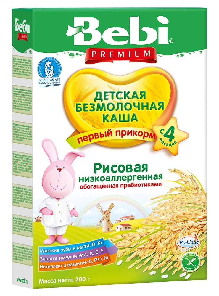 Купить Детская каша Bebi Premium безмолочная рисовая с пребиотиками, 200гр, Словения