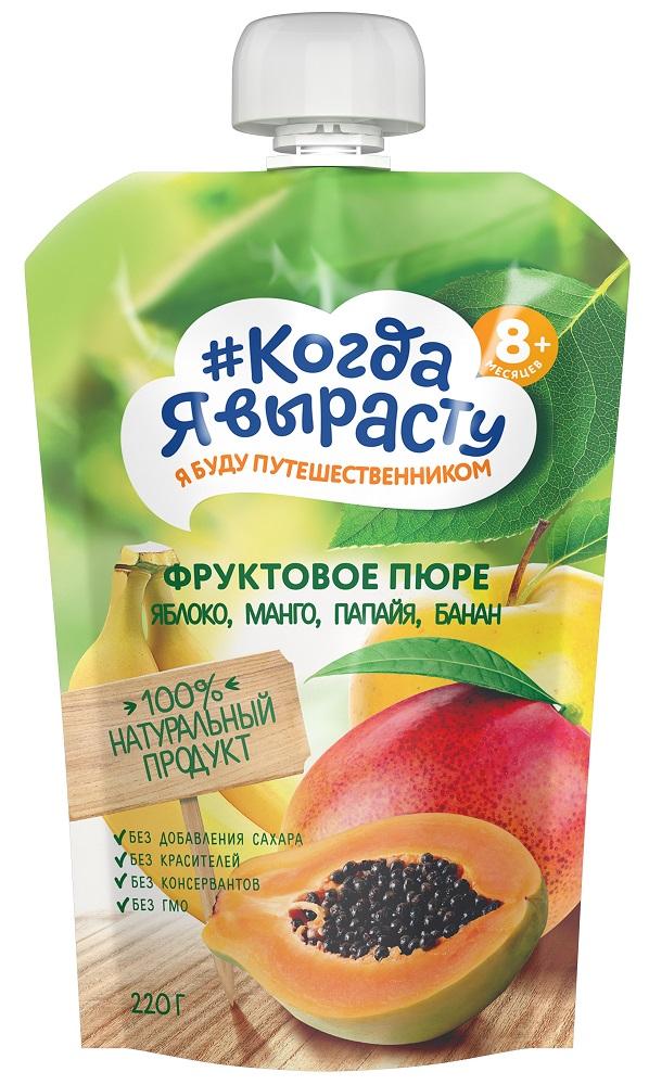 Купить Пюре Когда Я вырасту Яблоко, манго, папайя, банан, пауч, 220гр, Россия