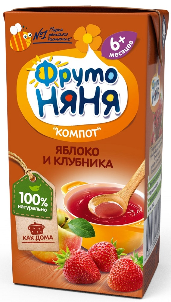 Компот ФрутоНяня из яблок и клубники, 0,2л фото