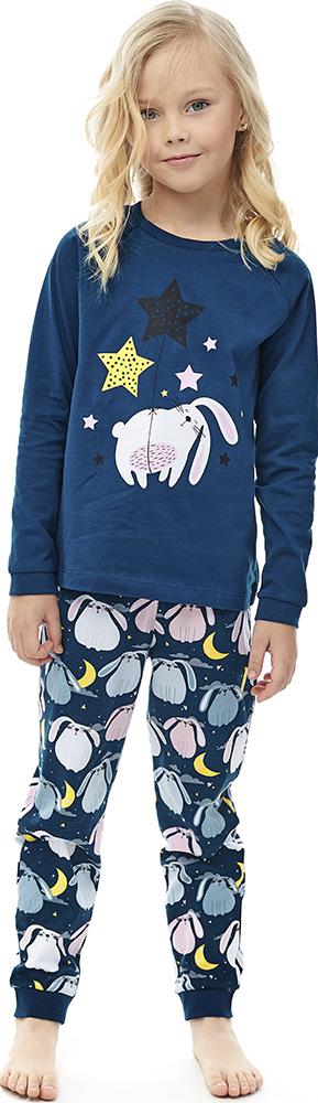 Купить Комплект пижамный UMKA Спящий кролик 204-027-01: футболка и брюки, для девочки, синий, Витоша, Россия, Синий, 122