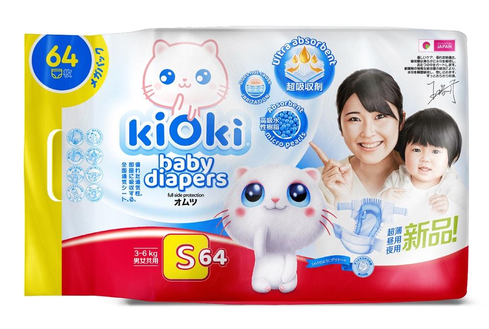 Купить Детские подгузники KIOKI S (3-6кг) на липучках, 64шт., Япония