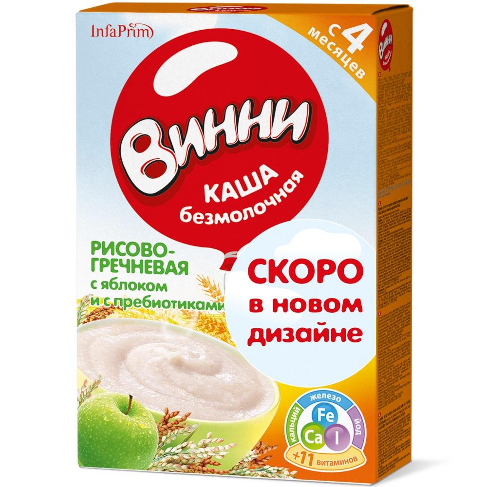 Купить Каша безмолочная Винни рис и греча с яблоком с пребиотиками, 200гр, Россия