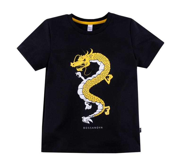 Купить Футболка Bossa Nova Весна с драконом для мальчика, черная, Наша Мама, Россия, Черный, 116