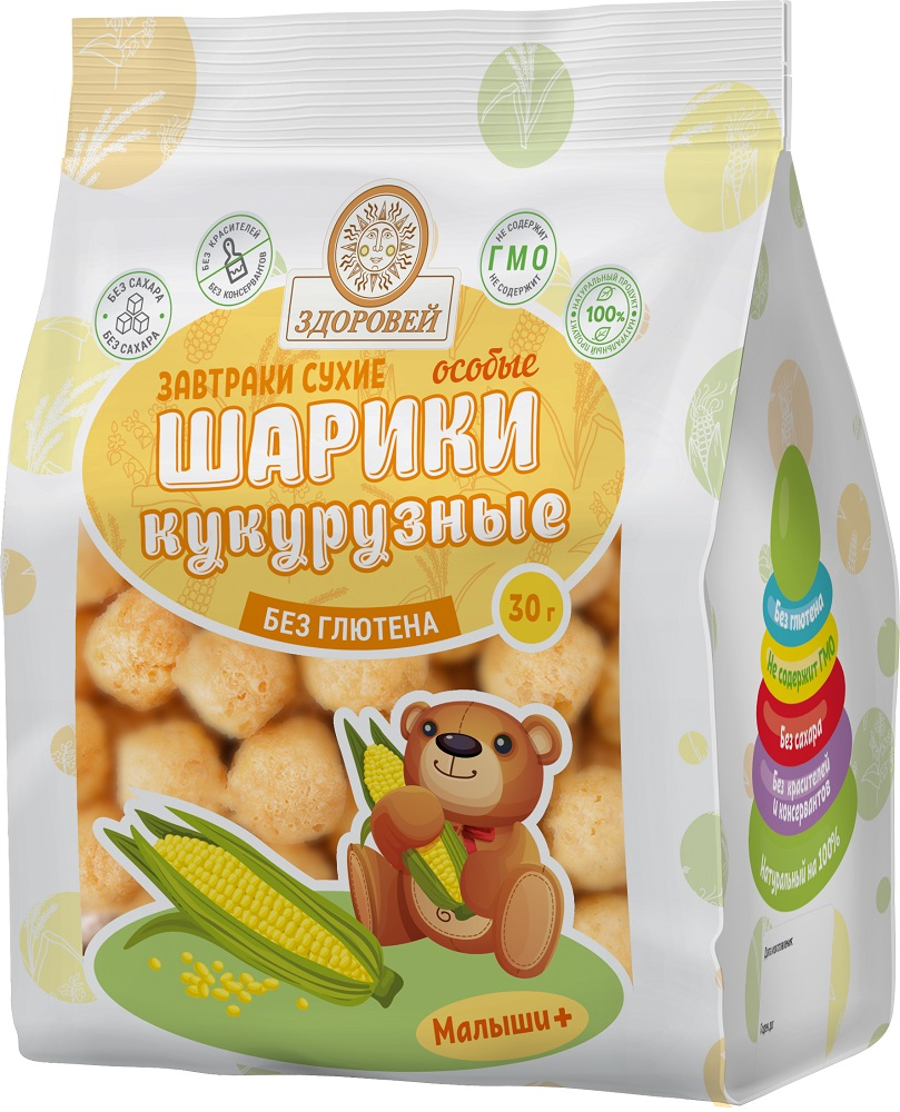 Купить Шарики особые Здоровей кукурузные, 30гр, Россия