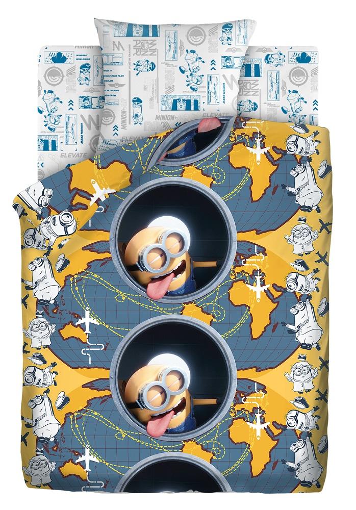 Купить Комплект постельного белья Миньоны 2 Иллюминатор, c наволочкой 70х70см, 1, 5-спальный, ОТК, Россия
