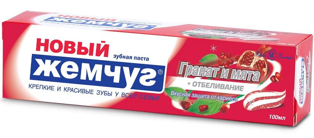 Купить Зубная паста Новый Жемчуг Гранат и Мята + Отбеливание, 100мл, Новый жемчуг, Россия