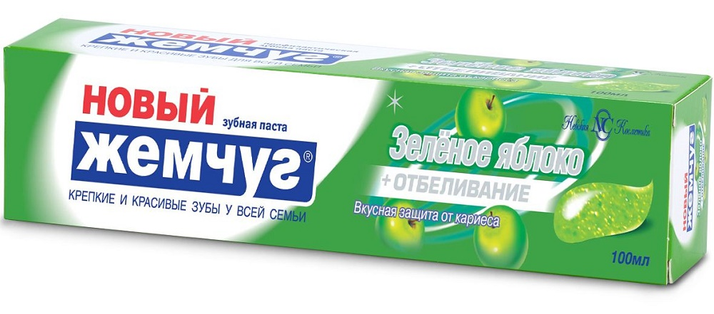 Купить Зубная паста Новый Жемчуг Зеленое яблоко + Отбеливание, 100мл, Новый жемчуг, Россия