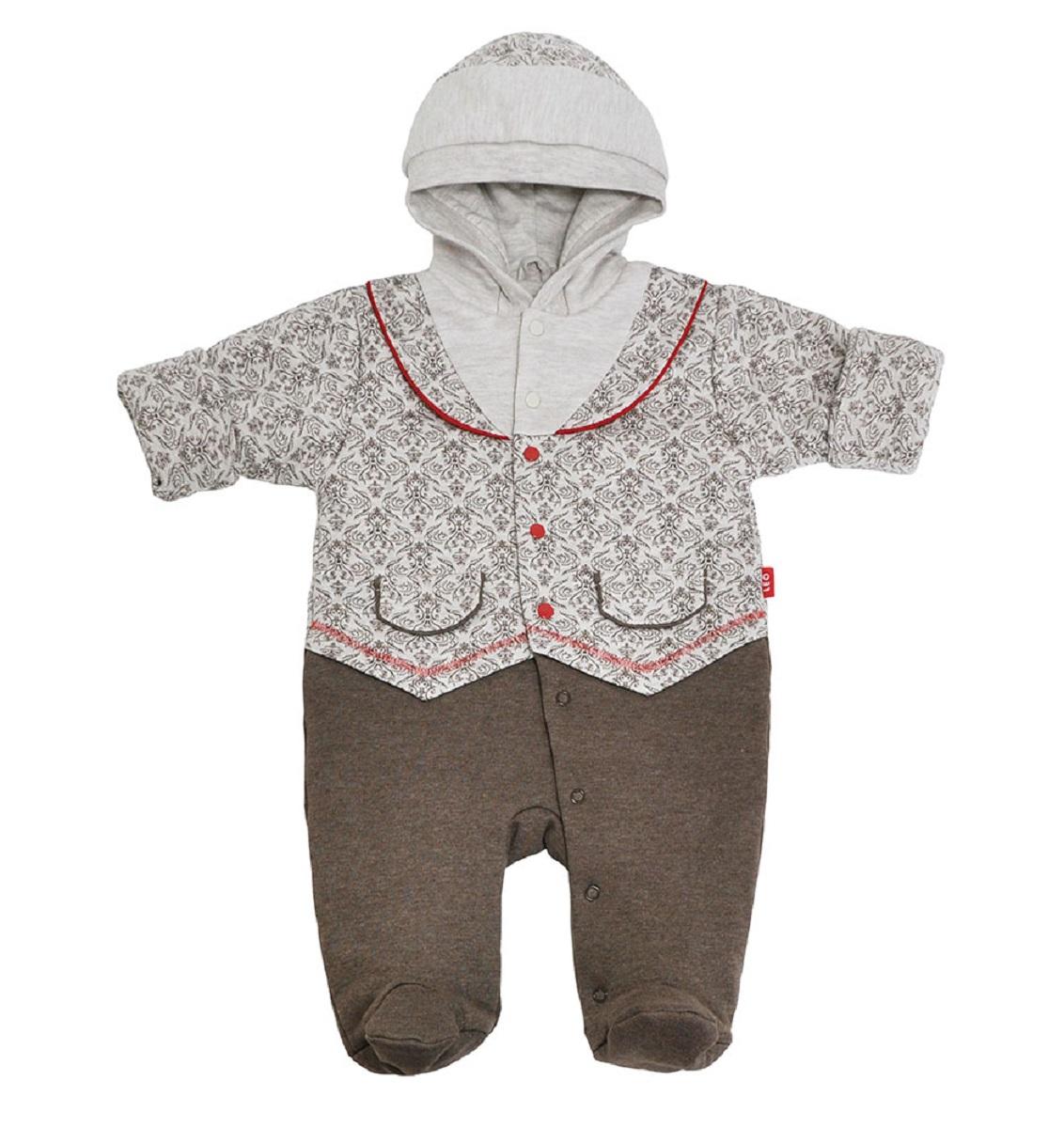 Купить Комбинезон Leo Узоры для мальчика на синтепоне с капюшоном, Наша Мама, Россия, Мульти, 62