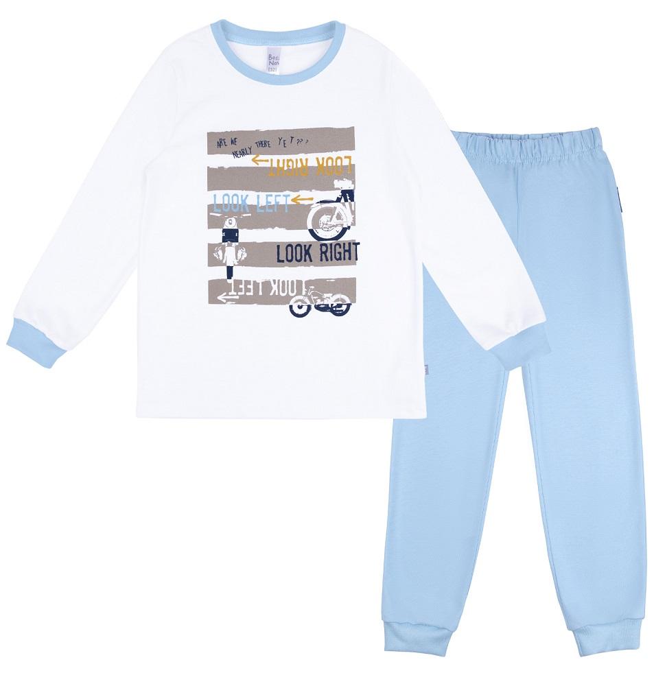 Купить Пижама Bossa Nova Морфей для мальчика: джемпер и брюки, бело-голубая, Витоша, Россия, Голубой, 86