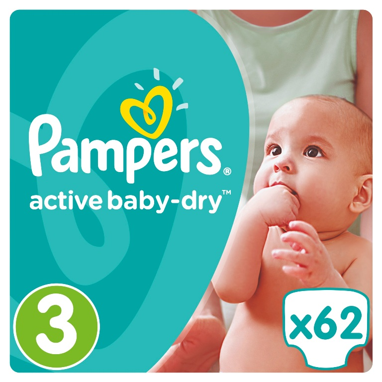 Подгузники Pampers Active Baby-Dry Midi 3 (4-9кг), 62шт.
