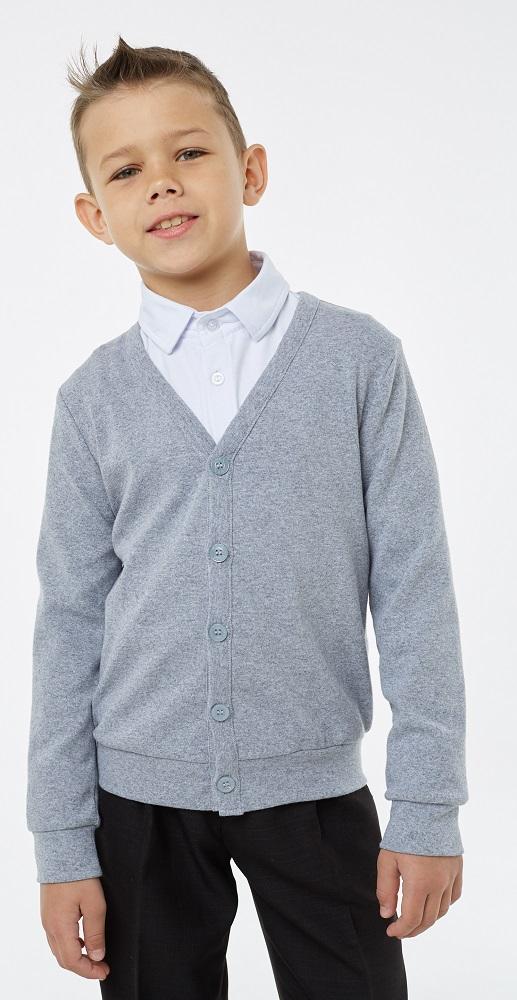 Купить Кардиган UMKA 1S5-001-11811 для мальчика, меланж, Сонный Гномик, Россия, Серый, 140