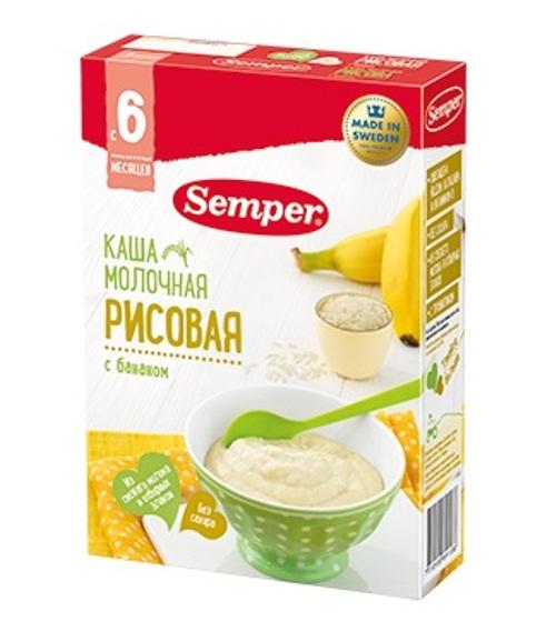 Купить Каша Semper Рисовая молочная с бананом, 200гр, Швеция