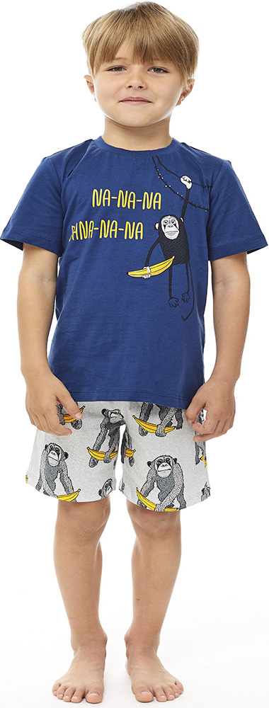 Купить Комплект пижамный UMKA Banana 104-015-02: футболка и шорты, для мальчика, Витоша, Россия, Мульти, 110