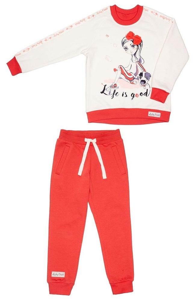 Костюм Lucky Child: толстовка и брюки, для девочки, красный фото