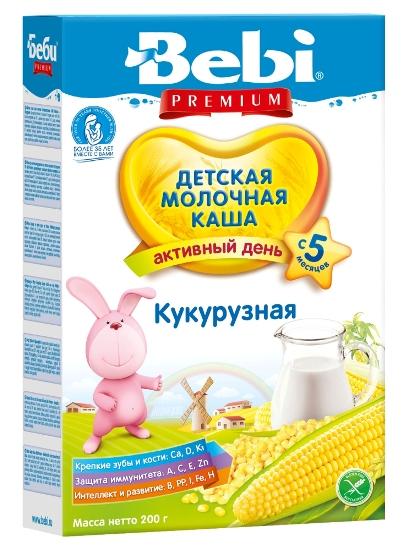 Детская каша Bebi Premium молочная кукурузная, 200гр, Словения  - купить со скидкой
