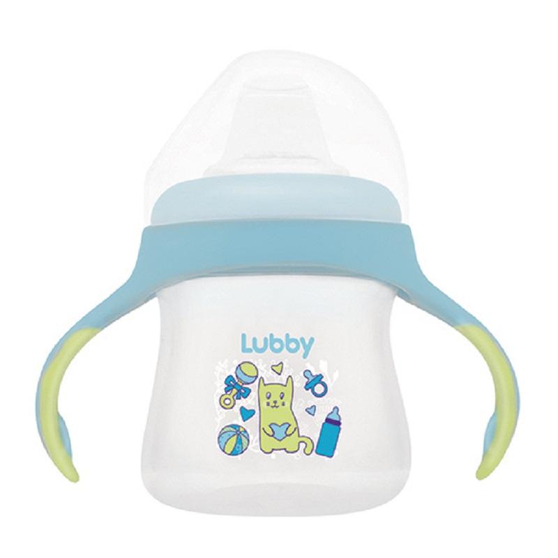 Купить Поильник-непроливайка Lubby Малыши и Малышки со сменным носиком, 150мл, Happy Baby, Россия, Голубой