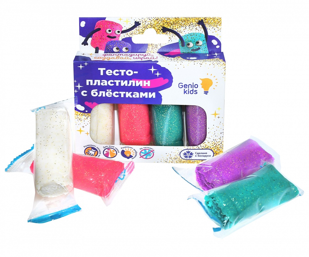 Купить Набор для детской лепки Genio Kids Тесто-пластилин , с блестками, 4 цвета, Беларусь