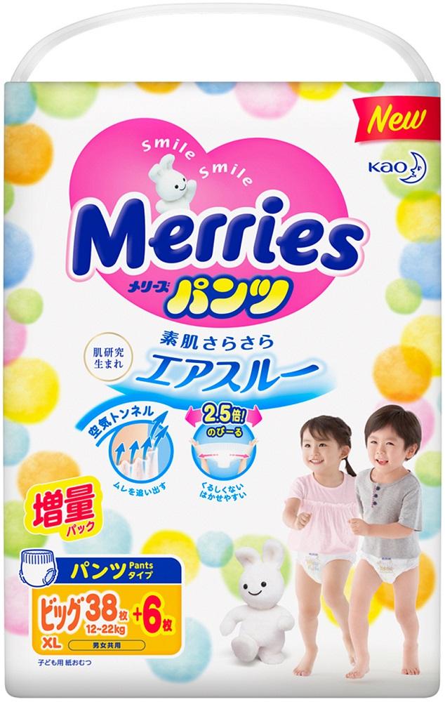 Купить Трусики-подгузники Merries XL (12-22кг) 38+6шт., Япония