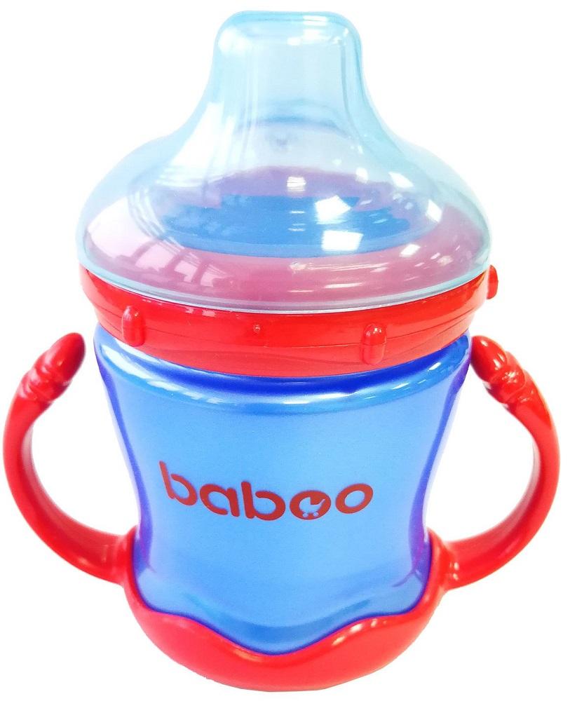 Кружка-поильник Baboo с мягким силиконовым носиком, 180мл синего цвета