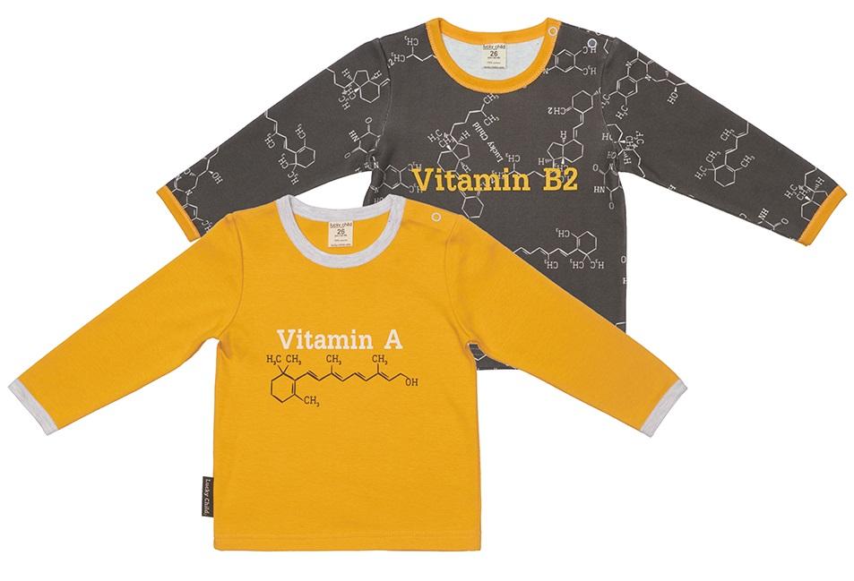 Купить Комплект футболок с длинным рукавом Lucky Child Витамин , 2шт., Наша Мама, Россия, Мульти, 74