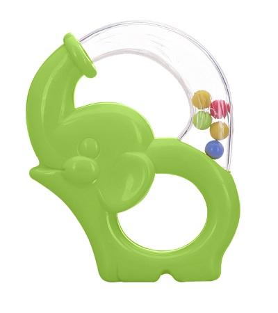 Игрушка-погремушка Мир детства «Радужный Слоник», зеленая фото