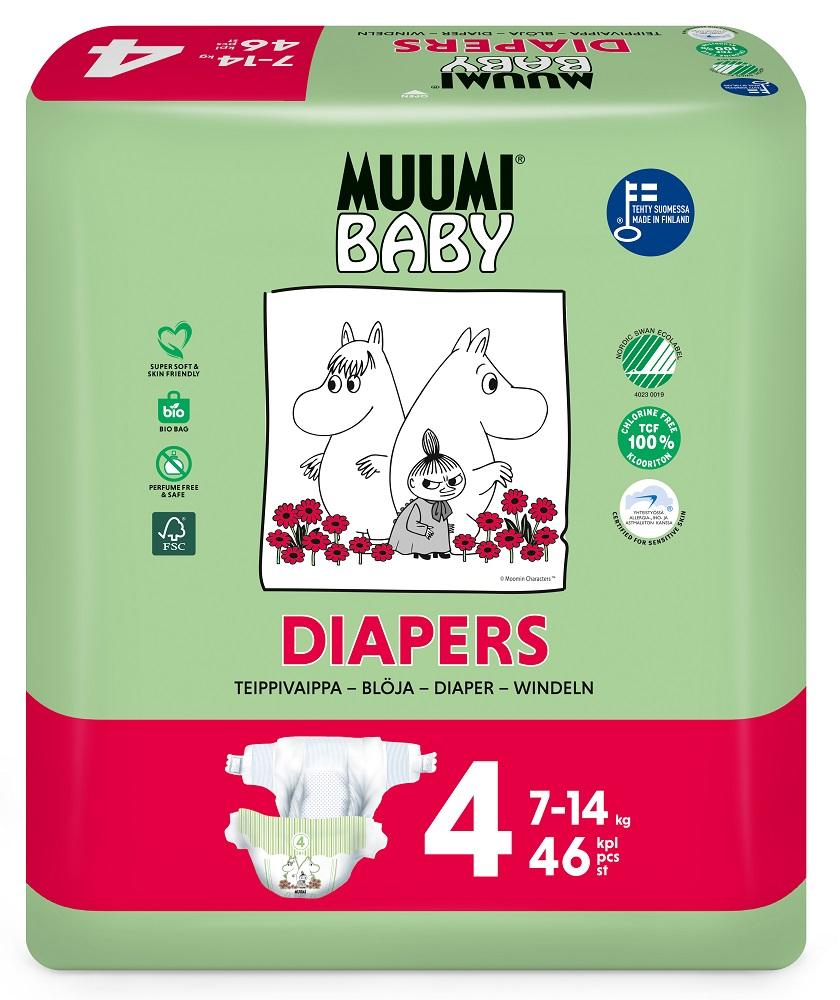 Купить Подгузники Muumi Baby Maxi 4, 7-14 кг, 46шт., Финляндия