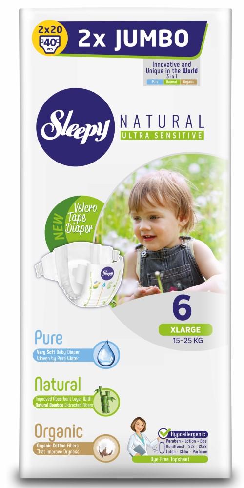 Купить Подгузники Sleepy Natural XL 6, 15-25кг, 40шт., Турция