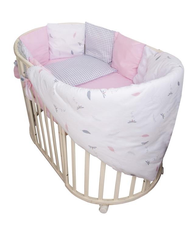 Купить Комплект в кроватку Сонный Гномик 611-12 Стрекоза-Егоза , 6 предметов, розовый, Россия