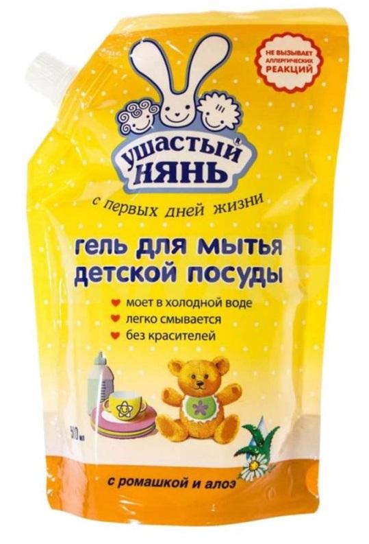 Купить Гель для мытья детской посуды Ушастый Нянь, с ромашкой и алоэ, 500мл, Россия