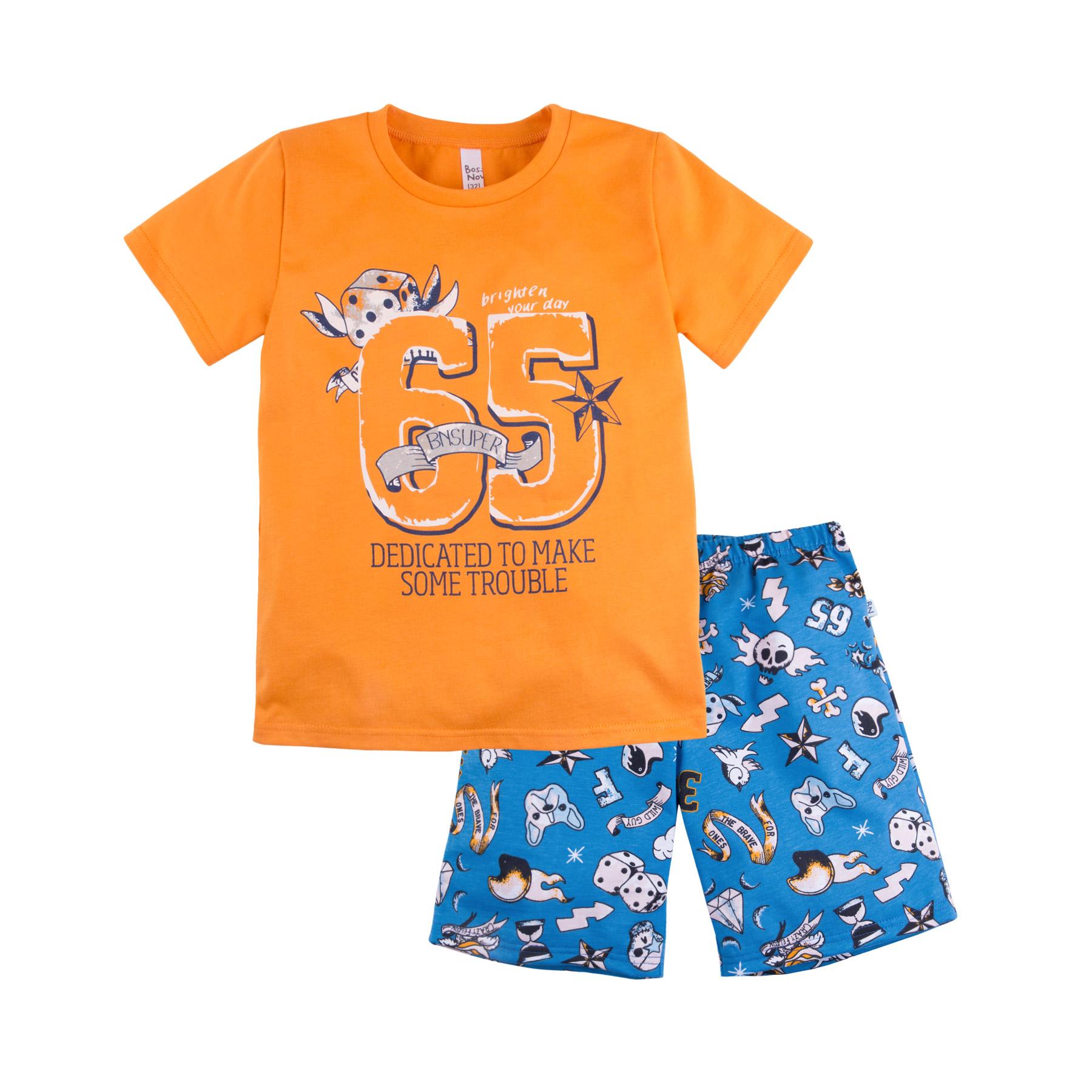 Купить Пижама Bossa Nova Тату для мальчика: футболка и шорты, оранжевая, Журавлик, Россия, Оранжевый, 122