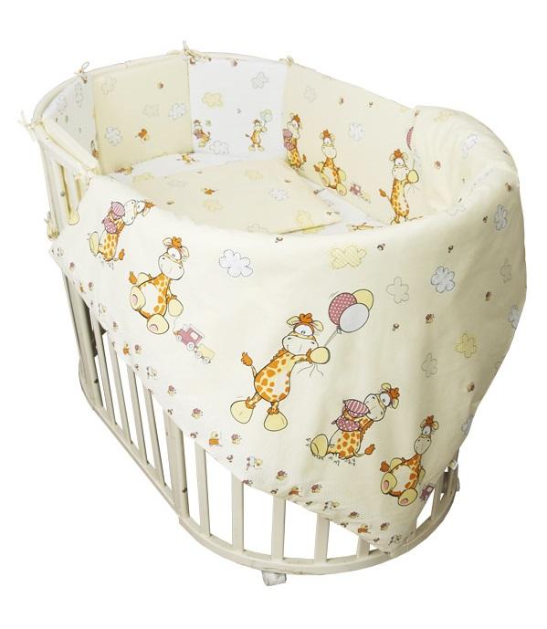 Купить Комплект в кроватку Сонный Гномик 609-10/4 Жирафик , 6 предметов, бежевый, Россия