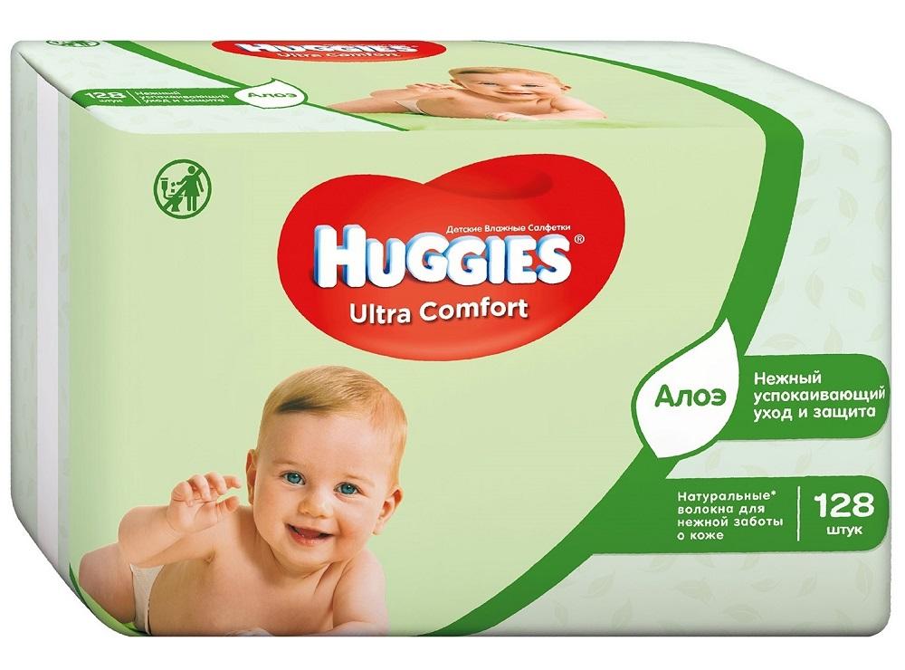 Купить Детские влажные салфетки Huggies Ultra Comfort Natural Duo с алоэ, 2x64шт., США