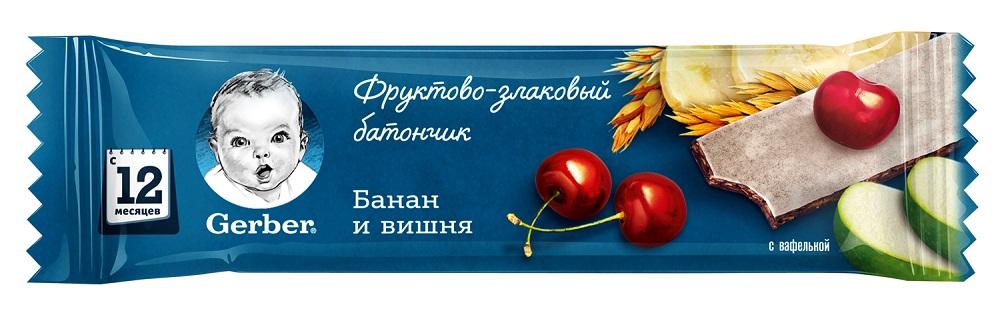 Gerber® Фруктово-злаковый батончик с вишней и бананом, 25гр фото