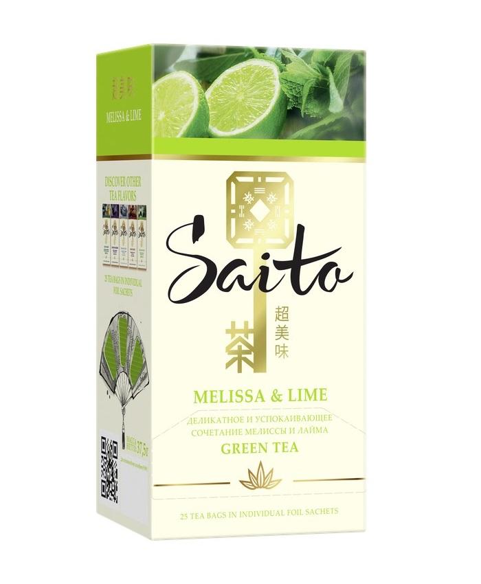 Чай зеленый Saito Melissa&Lime, 25 пакетиков фото